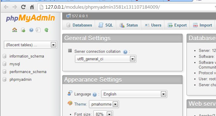 Installing mysql and phpmyadmin on windows using easyphp wamp 6 phpmyadmin would be opened on a new window as shown in the image below databases ccuart Images